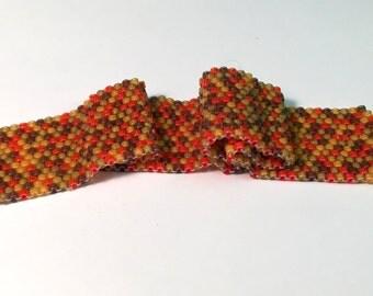 Autumn Colors Bead Soup Peyote Bracelet w/ Magnetic Clasp