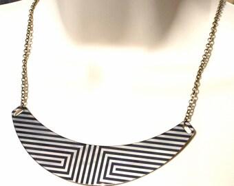 Brass Collar Necklace Art Deco Black White