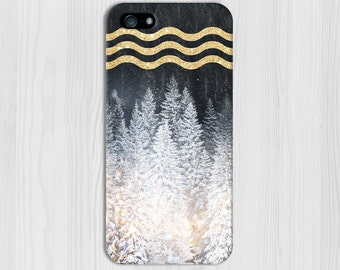 Gold Glitter x Snow Evergreen Forest Design Case for iPhone 6 6 Plus iPhone 7  Samsung Galaxy  & s7 and Note 5  S8 Plus Phone Case