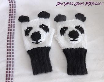 Hand-Knit Panda Fingerless Gloves - Fingerless Gloves - Knitted Fingerless Gloves - Knit Animal Wrist Warmers