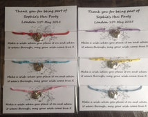 Personalised Hen party wish bracelets friendship bracelet hen charm choice of colours POSTAGE included