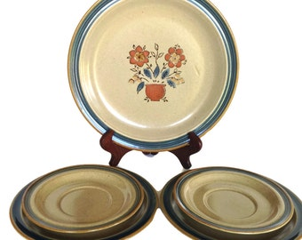 Stoneware plate set vintage floral design 6 piece dishes frontier pattern