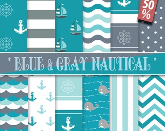 50% OFF,Nautical Digital Papers,Blue & Gray, backgrounds, printables, Personal and commercial use, Instant Download,banner,12 Sheets,300 DPI