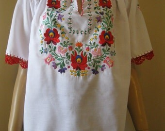 Hand embroidered Hungarian Matyo ,Kalocsa  blouse multicolored embroidery - size S-M / code PV