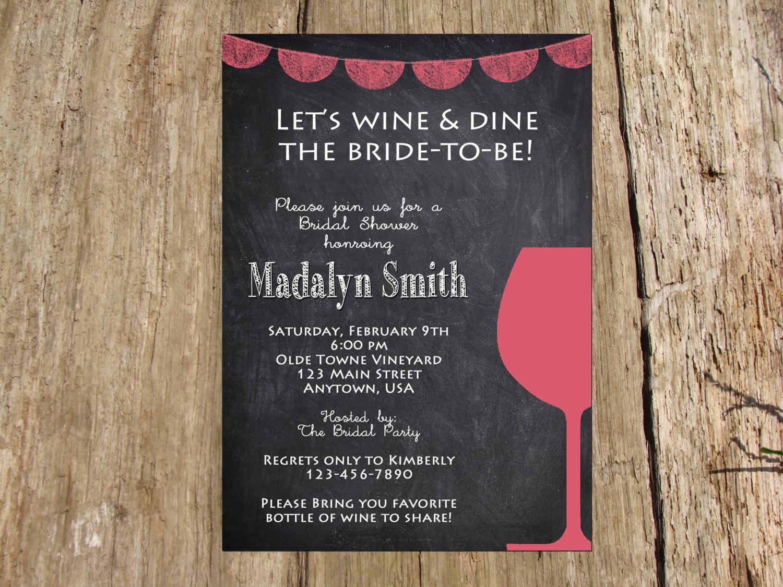 wine tasting chalkboard banner bachelorette party bridal shower invitation