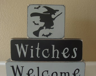Halloween Wood Blocks, Halloween Wood Stackers, Witches Welcome