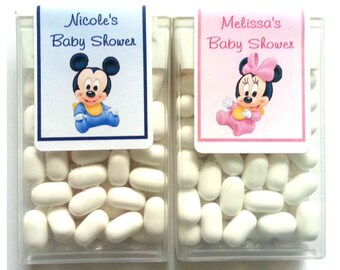 28 Baby Mickey Minnie Mouse Baby Shower Favors Tic Tac Labels ~ FREE SHIPPING