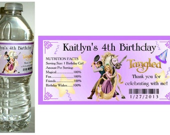 20 RAPUNZEL TANGLED Birthday party water bottle labels ~ glossy ~ waterproof ink ~ Free Shipping
