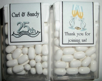 28 Silver 25th Anniversary Party Favors Tic Tac Labels ~ Free Shipping