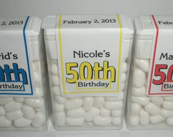 28 ~ 50th Birthday Party Favors Tic Tac Labels ~ Free Shipping