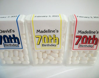 28 ~ 70th Birthday Party Favors Tic Tac Labels ~ Free Shipping