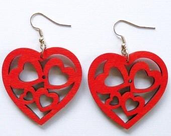 heart, wooden earrings, red