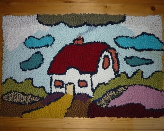 Clarice Cliff Inspired Hand Made Peg Rag Rug Wall Hanging Mat Cushion