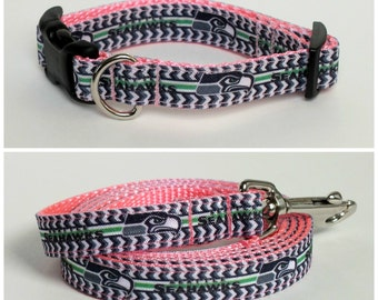 Pink Seattle Seahawks Dog Collar and leash set