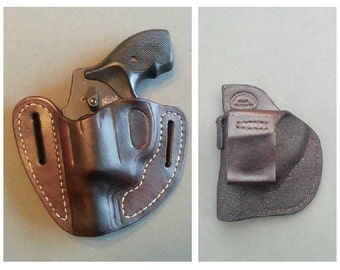 2 Hand Stitched Leather Holsters for Smith & Wesson J-frame short barrel, (1) Open Top Outside and (1) Inside the Waist Band
