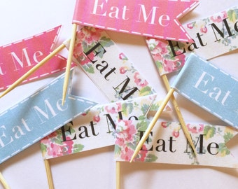 Vintage Shabby Chic Blue Pink Floral Cath Kidston Eat Me Cupcake Toppers Flag Picks x20 Birthday Party Baby Shower Christening Wedding