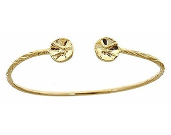 14K Yellow Gold West Indian Bangle w. Drum Ends (13.5 Grams)