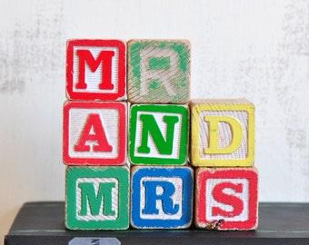 Vintage Wood Alphabet Blocks, Mr and Mrs, Wooden Letter Sign, Wedding Decor, Gift for Newlyweds