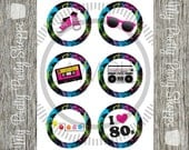 3 Inch 80's Party / I Love The 80's / Totally 80's Printable Labels / Cupcake Toppers / Favor Tags / Stickers *INSTANT DOWNLOAD*