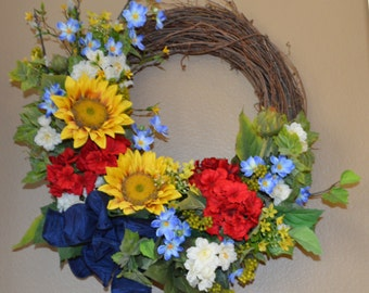 Sunflower Patriotic Wreath, Patriotic Wreath, Americana Wreath, Fourth of July Wreath