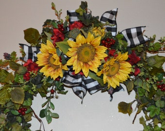 Tuscan Sunflower Swag, Rustic Sunflower Swag, Sunflower Swag, Arched Swag