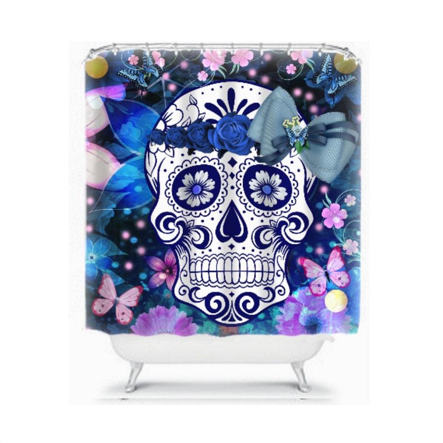 sugar skull shower curtain sensational blues and bows. Black Bedroom Furniture Sets. Home Design Ideas