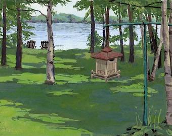 Green Landscape Art. Cottage Painting. Canadian Landscape. Rustic Art. Cottage Art. Sebright Cottage. Canadian Forest. Canadian Painting.