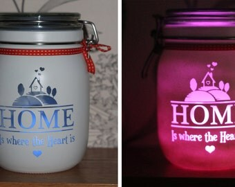 """Personalised Glass Jar Love-Lite Jar """"Home is Where the Heart Is"""""""
