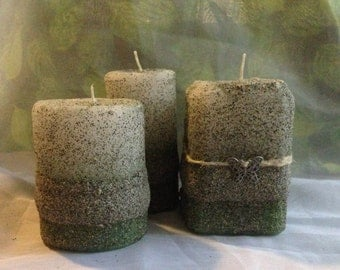Set of 3 hand crafted sand mold candles