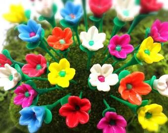 Dollhouse Miniature FAIRY GARDEN Accessories 20 Tiny Multi-color Flowers