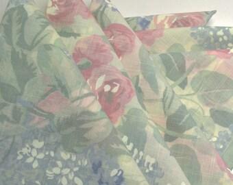 Napkins Faded Floral Pattern on Beige Cotton Set of 6