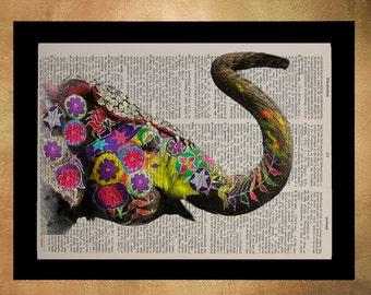 Painted Elephant Dictionary Art Print India Wildlife Animal Wall Art Home Decor Fine Art Print Vintage da615