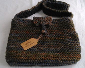 Oversize Indie Wool Bag in Grey/Green/Brown Mix: Hand Knit Fully Lined BNWT Unique Design One-Off *** SALE ***
