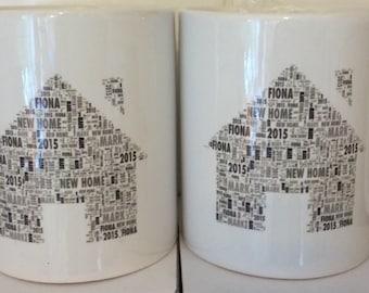House shape word art mug