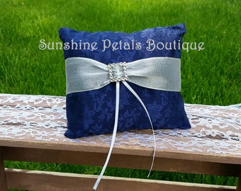 Gorgeous Handmade blue ring pillow with silver wire ribbon and bling buckle