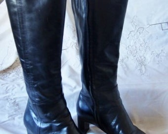 Black Leather Boots Size 8 M USA Eu 38.5 Minor Wear