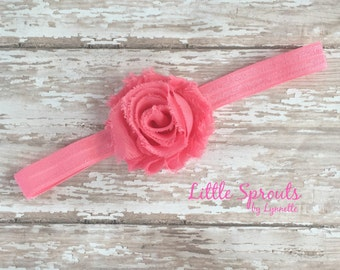 Pink Baby Girl Infant Headband, Newborn Pinkish Coral Shabby Flower Headband, Baby Shower Gift