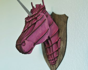 Wooden unicorn PLANS - faux taxidermy; New drastically reduced price!