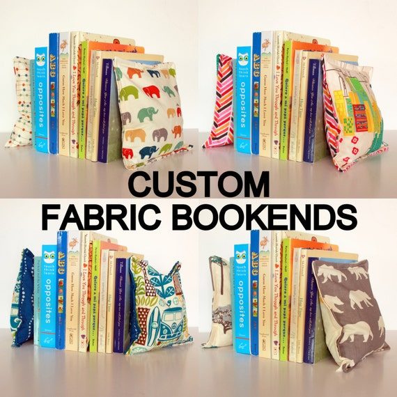 REG SIZE Nursery & Kid's Bookends, Child Safe Fabric Bookends, Reversible- Colorful Nursery and Children's Decor, Modern Bean Bag Bookends
