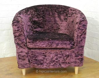 Slip cover for the Argos Colour Match tub chair Aubergine Shimmer Velvet