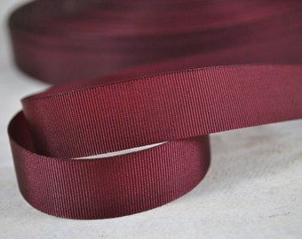 "3/4"" Merlot Burgundy Grosgrain Nylon Ribbon by the yard"