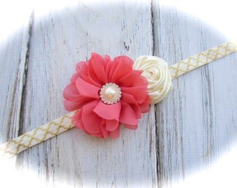 Coral, Ivory and Gold Headband, Coral Headband, Gold Headband, Baby Headband, Infant Headband, Coral Baby Bow, Baby Bow, Infant Bow,Headband