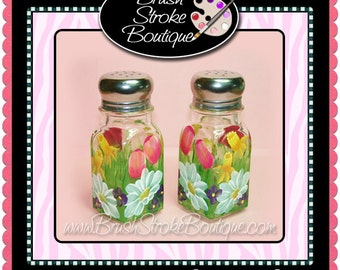 Hand Painted Salt & Pepper Shakers - Spring Bouquet - Personalized and Custom Shakers for Birthday, Wedding, Party, Special Occasions