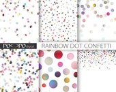 rainbow dots digital paper multicolor scrapbooking dotted pattern colorful background confetti party printable invitation supplies image