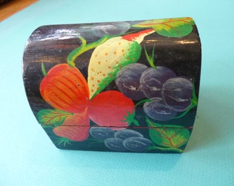 Folk Art Box Glossy Painted Fruit Design Made in Haiti Vintage Small Jewelry Case Treasure Chest