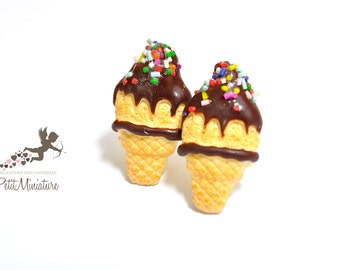 Earrings Studs Ice Cream / Ice creamicing sugar / Figurines Jewels