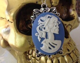 Skull Cameo, white on blue.
