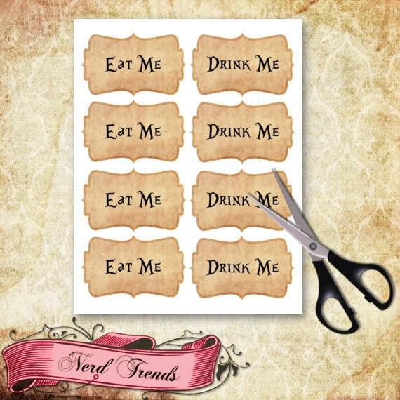 Alice In Wonderland Eat Me Labels Wonderland Gift By