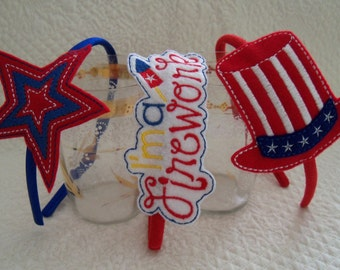 Patriotic Feltie Slider or Headband  Your Choice Oversize Feltie