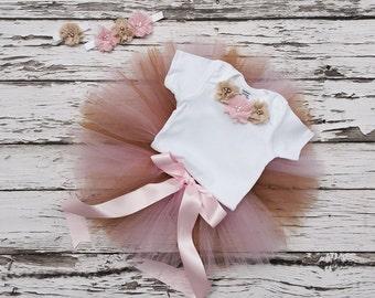 Birthday tutu. Pink and gold birthday. 1st birthday tutu. Gold and pink birthday outfit. 2nd Birthday tutu outfit.3rd birthday